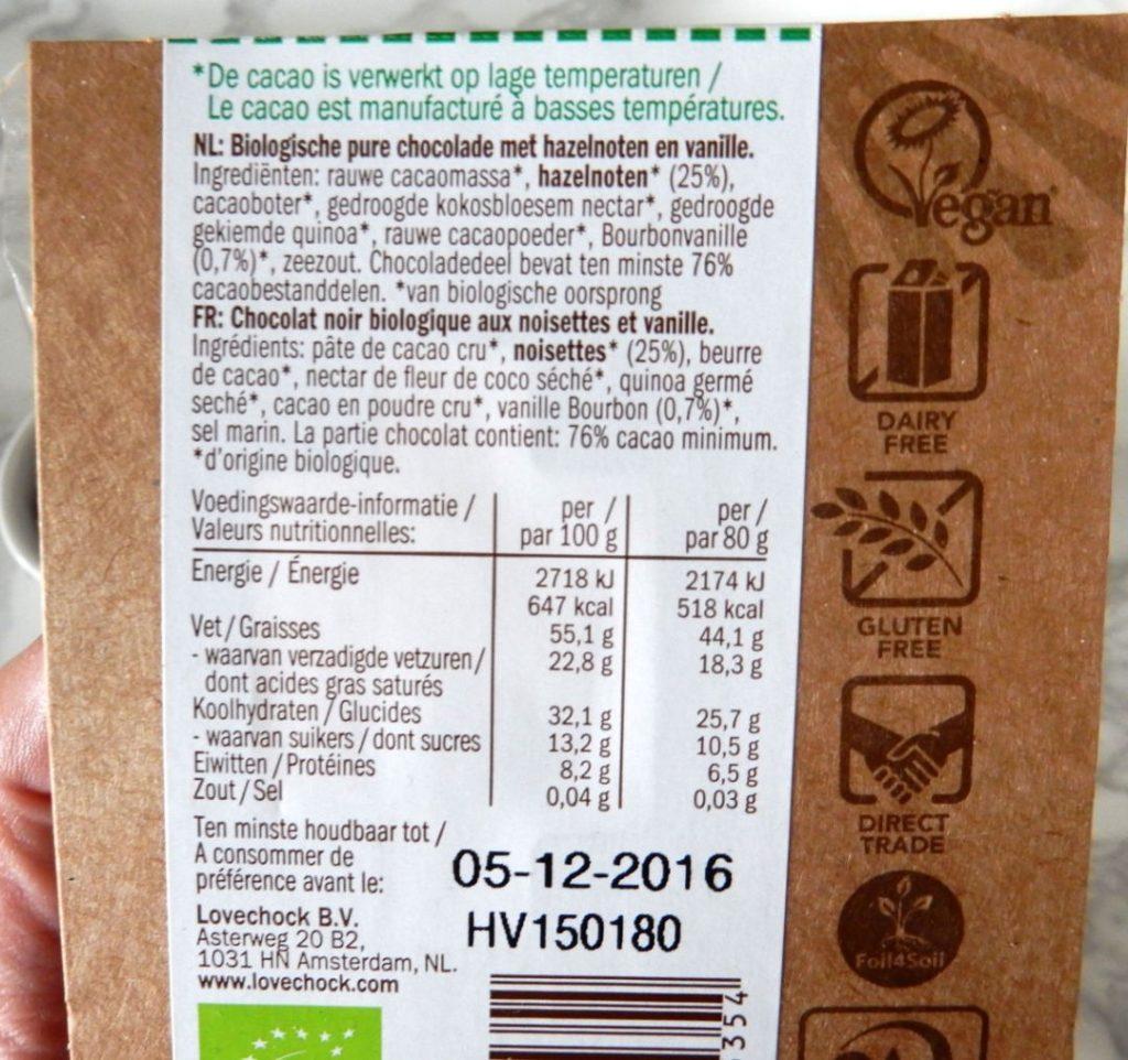 Lovechock ingredienten